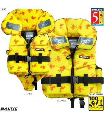 Print Børne rednings vest UV-GulPrint BALTIC 1255 Str:1/3-15